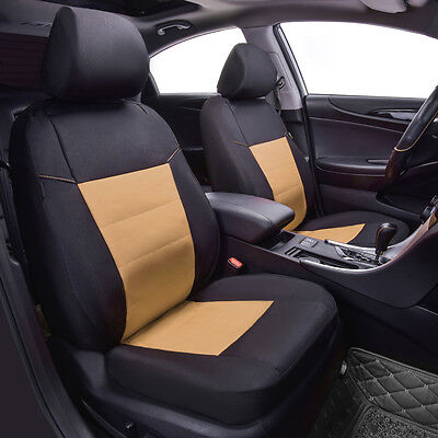 Universal Car Seat Covers Waterproof Oxford Two Front Airbag Fit Black Beige Set