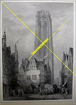 Stich: The Cathedral Malines um 1880 (24803)