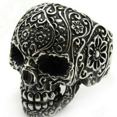 Silver Sugar Skull Ring Antique Floral Day Of The Dead, Mens Stainless Steel
