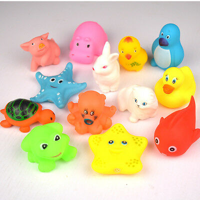 13pcs Animals Toys Rubber Baby Cute Bath Soft Sound New Lovely Float Kids Sqeeze