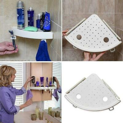 Bathroom Snap Up Corner Shelf Rack Triangle Polymer Grip Storage Mount Holder HZ