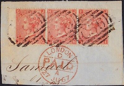 GB Used Abroad in CARTHAGENA COLOMBIA C56 4d. pl.8 x 3. Superb/rare piece!