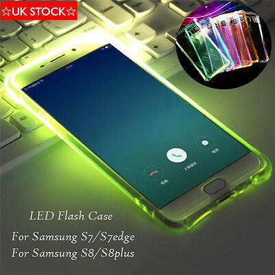 LED Flashing Case Clear Thin TPU incoming Call Case For Samsung Galaxy S7 S8plus