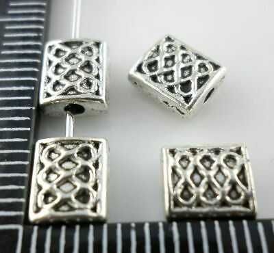 60/500pcs Tibetan silver Rectangle Charms Crafts Loose Spacer Beads 6x7mm