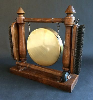 Fab Vintage Table Gong Or Dinner Gong With Brushes In Oak Frame