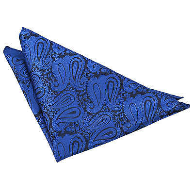 Pocket Square Hanky Woven Floral Paisley Royal Blue Mens Accessories by DQT