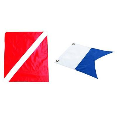 2 Pcs Nylon Diver-Down Boat Flag, Scuba Dive Flag Marker Banner Red Blue