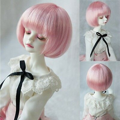8-9'' 1/3  BJD SD Doll Wig Hair DZ DOD LUTS Short Straight Pink Anime Full Wig