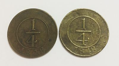 Dominican Republic 1848 1/4 Real Cross Let and Plain Four 2 Coins Set