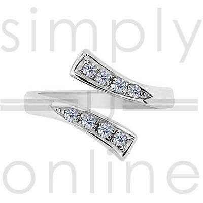 Sterling Silver Plated Clear Cubic Zirconia Adjustable Toe Ring