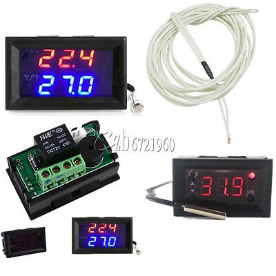 W1218 Thermostat DC 12V Blue Red +3-Digit NTC Probe Controller Replace W1209WK