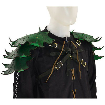 Elven Leaf Leather Pauldron Harness, LARP, Elf, Medieval Fantasy, LOTR, Green