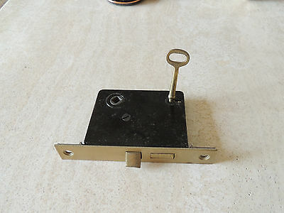 VINTAGE SKILLMAN MORTISE LOCK w/ KEY -  WORKS GREAT STEEL AND BRASS FACING