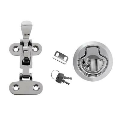 Strong Stainless Steel Boat Anti-Rattle Latch + Zinc Alloy Lock Slam Latch