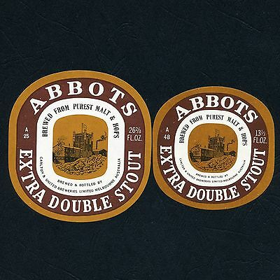 2 x Different Vintage Abbots Extra Double Stout Beer Labels (Near Mint)