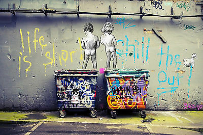"Banksy Children On Bins Canvas Wall Art ""20x30"""