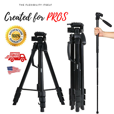 Professional Heavy Duty Video Camera Tripod with Fluid Head Kit 70 Inch + Case