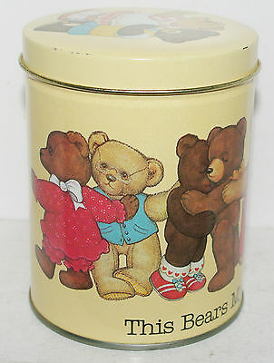Artist Marjorie Sarnat THIS BEARS MY HUG TO YOU 1984 Tin Box Container Canister