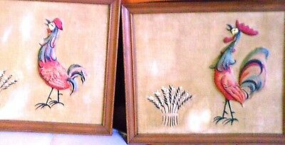 Vintage wall deco framed chicken set of two