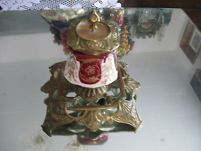 Rare Antique 1800'S  French   Gilt Porcelain  Bronze Ink Well