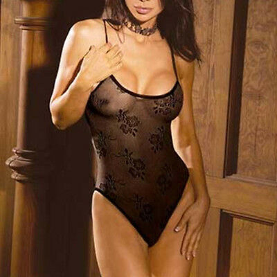 Teddy Lingerie in Black Floral Lace Print Elegant Moments One Size Stretch ELT