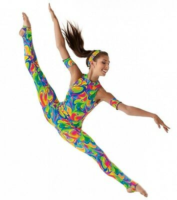 Watercolor Dance Costume Stirrup Unitard Head/Arm Bands Clearance Child X-Small