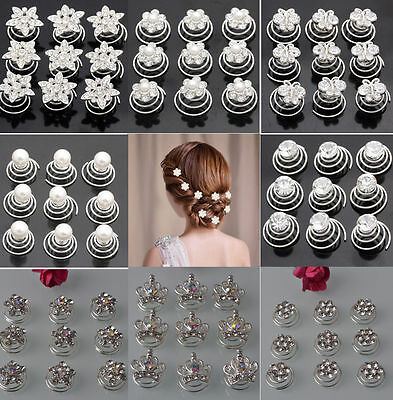 Crystal Hair Spirals Fashion Ladies Wedding Party Twists Spinners Accessories UK