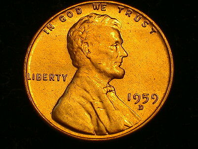 1959-D  Lincoln Cent, Choice Uncirculated. Free Shipping  Lot #01931