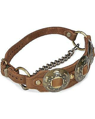 Concho Leather Boot Strap Brown One Size