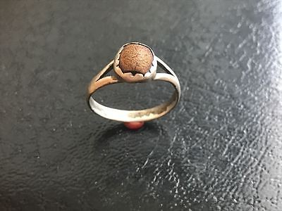 Silver ring 19th century. Brown incert. Great. Beautiful. Rare. 100% original!!!