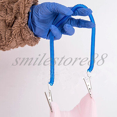 Dental Patient Bib Clips Chains Coil Napkin Holder Crocodile Clip Stretchy