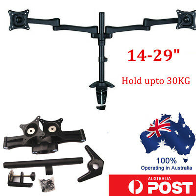 Dual Led HD Monitor Stand 2 Arm Holds Two LCD Screen TV Desk Mount Bracket Flat