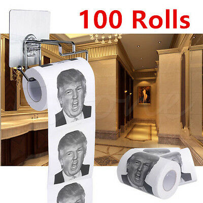 100 Rolls Donald Trump Humour Toilet Paper Roll Novelty Gag Gift Dump With Trump