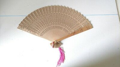 Antique Hand Crafted Wooden China Fan with Original Glass Case