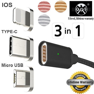 3IN1 Magnetic Micro USB/Type C /IOS Fast Charging Charger Data Sync Cable Cord