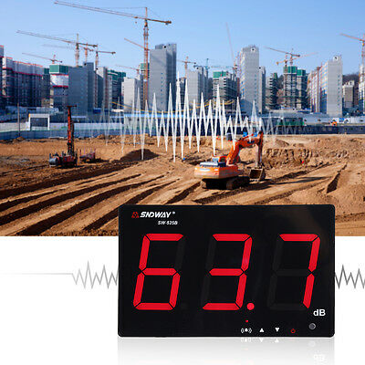 """9.6"""" LCD Digital Sound Level Meter Wall Hanging 30-130dB Noise Test W/Alarm"""