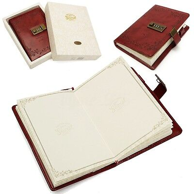 B6 Red Rose Combination Lock Leather Cover Journal Diary Lined Page Notebook