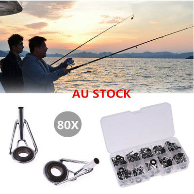 80X 10size Fishing Rod Guide Guides Tip Set Repair Kit DIY Eye Ring+Fish Box AU