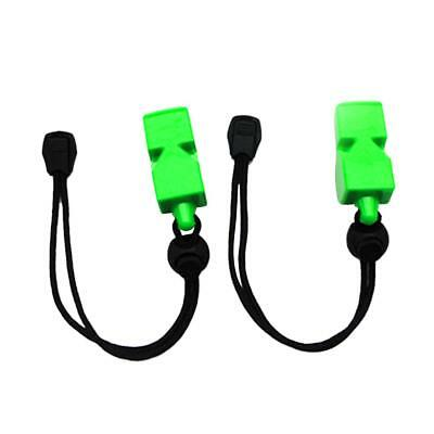 2x Emergency Adjustable Strap Safety Whistles for Scuba Dive Kayaking Green
