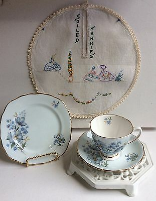 Vintage Colclough Cup Saucer Plate Trio Set Blue Bone China Bonus Hanky Doily