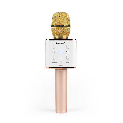 Intempo Rose Gold Bluetooth Wireless Portable Handheld Ktv Karaoke Microphone