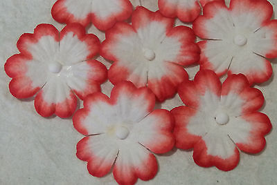 100 x 27mm RED WHITE FLOWERS MPFF18RW::: Scrapbook Christmas Card embellishments