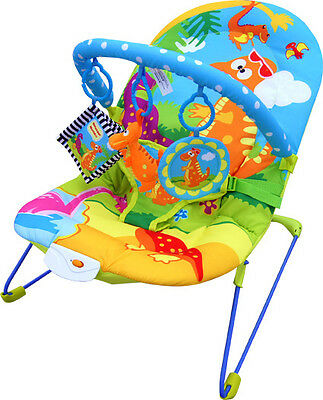 Bebe Style Baby Rocker Dino Bouncer Reclining Chair Music Vibration Toys NEW