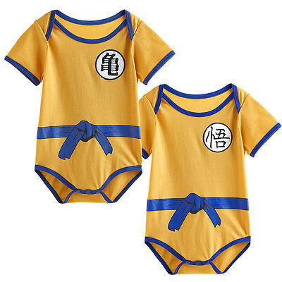 2PC Dragon Ball Z Baby Boy Goku Son Costume Infant Bodysuit Newborn Halloween