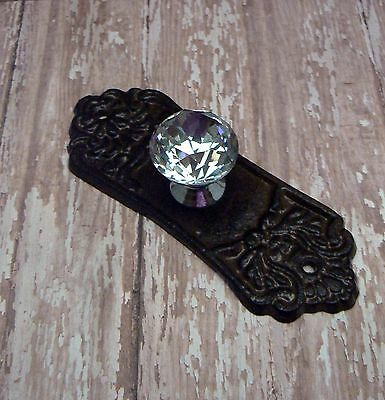 Ornate Cabinet Drawer Pull Shabby Chic Natural Cast Iron Backplate acrylic Knob