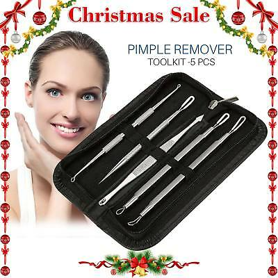 5pcs Acne Comedone Blackhead Pimple Blemish Extractor Remover Stainless Tool Kit