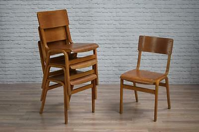 Vintage Industrial Tecta Stacking School Cafe Bar Kitchen Dining Chairs
