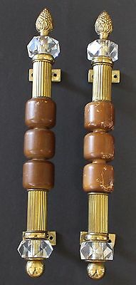 "Vintage 70's Hardware DOOR HANDLES 2 Brass Wood Lucite 14.5"" PAIR Reclaimed Set"