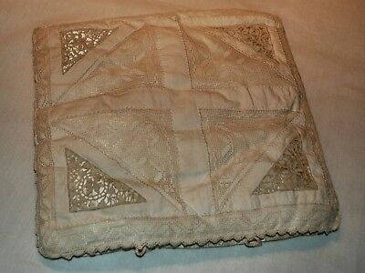 ANTIQUE HAND SEWN NEEDLE AND FILET LACE ON SILK LiNGERIE CASE, BEAUTIFUL