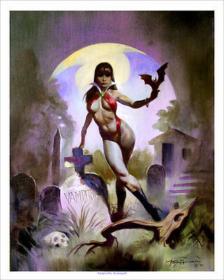 VAMPIRELLA GRAVEYARD! Exotic Horror Mike Hoffman Art Print SIGNED!